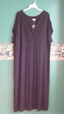 J.Jill 4X Dress Black Empire Surplice Roomy Jersey Maxi  One Side Slit $109 NWT