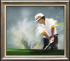 Victor Spahn Original Painting Oil on Canvas Signed Sports Artwork Golf Framed