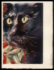 1996 Watercolor Painting Black Cat Intense Yellow Eyes, Signed Stephen Cobb