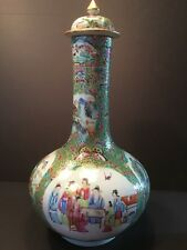 Antique Chinese Rose Medallion Large Water Bottle vase , 19th C