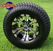 "GOLF CART 10"" MACHINED/BLACK VAMPIRE WHEELS/RIMS and 20"" STREET/TURF TIRES (4)"