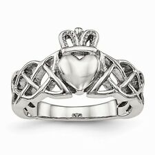 CHISEL BRAND POLISHED STAINLESS STEEL BRAIDED CLADDAGH RING / BAND   - SIZE 8
