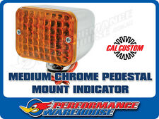 MEDIUM CHROME TURN SIGNAL INDICATOR LIGHT AMBER LENS INCANDESCENT PEDESTAL MOUNT