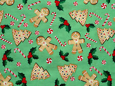"26"" REMNANT  CHRISTMAS  GINGERBREAD MEN  CHRISTMAS QUILTING  100% COTTON FABRIC"
