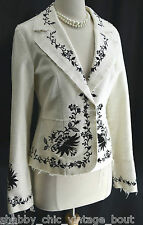 VTG WHITE HOUSE BLACK MARKET WHBM EMBROIDERED JACKET BLAZER FRAY DISTRESSED 4 SM