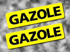 2x GAZOLE Fuel Reminder Vinyl Stickers BLACK on YELLOW 80mm Car/Van/Tax/Camper