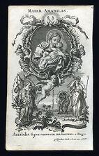 santino incisione 1700 litanie lauretane MATER AMABILIS  klauber