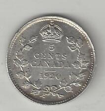 CANADA,  1920,  5 CENTS,  SILVER,  KM#22a,  CHOICE ALMOST UNCIRCULATED