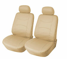 Leather like Two Front Car Seat Covers For Nissan 159 Tan