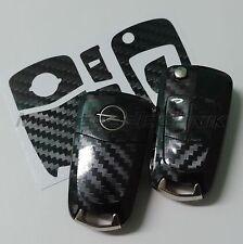 1O_Schlüssel-Dekor Aufkleber Opel Corsa D,Astra H,Zafira B schwarz carbon glänz.