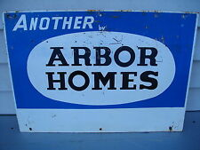 VINTAGE 1960'S REAL ESTATE HOUSING ADVERTISING ARBOR HOMES HOUSES TIN SIGN