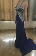 NWT Roberto Cavalli Custom Made Embellished Blue Gown  42/6