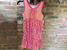 Girls Jona Michelle Pink Patterned Dress, Fuchsia Knit Skirt - aged 6