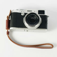 Genuine Leather Camera Hand Wrist Strap For Sony Fujifilm Samsung Canon Brown
