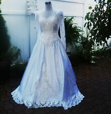 Vintage Michelangelo Antique White Satin Lace & Pearl Wedding Gown Size 8