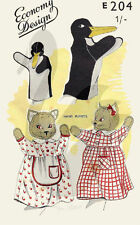 Vintage Reproduction Kitten & Penguin Hand Puppets Sewing Pattern ED204