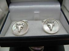gemelli madreperla con testa di volpe  in argento 925 lavorazione artigianale