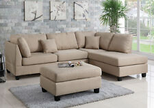 Modern Sectional Sofa Corner Couch Reversible Chaise Ottoman Linen Fabric Sand