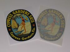 "Vintage Cypress Gardens wood ""large size"" water ski decals (pair)"