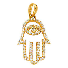14K Yellow Gold Evil Eye Hamsa Diamond Pendant Charm