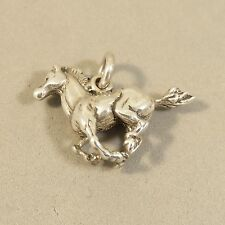 .925 Sterling Silver 3-D GALLOPING MUSTANG CHARM NEW Horse Pony Pendant 925 HS35