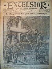 WW1 N° 2144 CANON BRITANNIQUE CHAMPS DE BATAILLE SOMME JOURNAL EXCELSIOR 1916