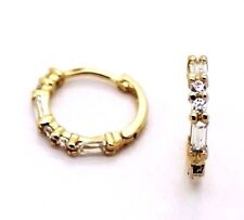 14 K Solid Yellow Gold   Hoops Huggies Earrings with Two 2X4 Baguettes & 2mm CZ