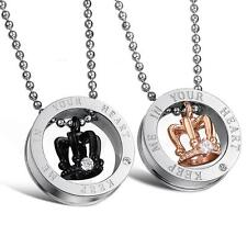 2 Pcs Stainless Steel Crown His and Her Promise Matching Love Couple Necklace