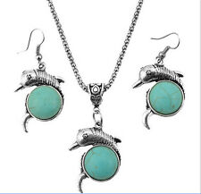 Tibetan Silver dolphin Turquoise Women Pendant Necklace Earrings Jewelry Sets