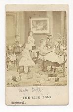 1860's CDV PHOTO CHILDREN W/ TRAIN ENGINE, DRUM, ARK, DOLLS, DANCING FIGURE TOY