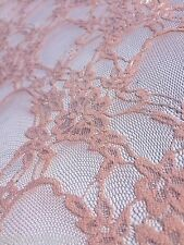 B093 - NUDE Pink Polyester / Nylon / Elatane Floral Design Lace Jersey Fabric