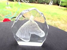 NYBRO HANDMADE SWEDISH ART GLASS VINTAGE PAPERWEIGHT  HORSE HEAD