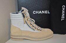 NIB $1425+ CHANEL 15C Beige Suede Canvas CC Lace Up Short Combat Zip Boots 37.5