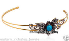 Estate Victorian 6.67ct Rose Cut Diamond Jewelry Turquoise Silver Headband Tiara