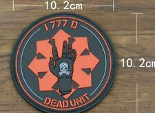 """4"""" Zombie Hunter J777D Dead Unit Deadpool Tactical Morale PVC Velcro Patch BLACK"""