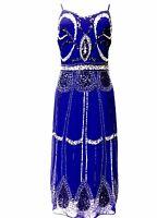 Blue Vintage 1920s Flapper Gatsby Downton Abbey Fringe Beaded Dress Size 8-20
