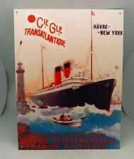1915 French Metal Tin Ship Advertising Sign - SS Rochambeau - Vintage Style