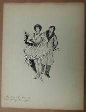 Beau Dessin Ancien Encre Illustrateur FRIM Homme Fille de Joie Client 1890