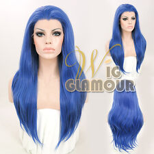 "Long Straight 24"" Blue Lace Front Wig Heat Resistant"