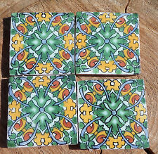 "36~Talavera Mexican 2"" tile pottery hand painted Charlotte Green Yellow white"