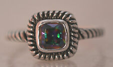 SQUARE RAINBOW MYSTIC TOPAZ RING ALL Genuine Sterling Silver.925 STAMPED Size 10