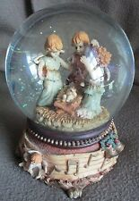Nativity Snow Globe With Angles and Baby Jesus Musical Little Town of Bethlehem