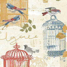 French Country Bird Birdcage Wallpaper Double Roll Bolts FREE SHIPPING