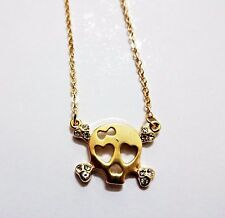 Skull necklace rhinestones gold adjustable cable link chain 14 to 16 inch