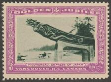 Canada Vancouver BC Golden Jubilee Empress of Japan Figurehead Poster Stamp 1936