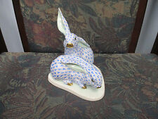 Large Authentic Herend Bunnies Rabbits Blue Fishnet Porcelain Hungary
