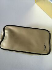 Auth Yves Saint Laurent YSL gold patent cosmetic makeup bag pouch Clutch CASE