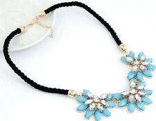 Statement Crystal & Turquoise Flower BIB Necklace Rope Chunky Choker Blue NEW