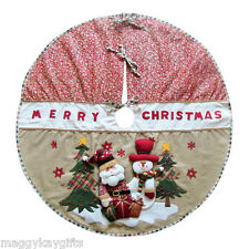 Luxury Country Christmas Tree Skirt - Decoration - 3D Santa & Snowman - 42""