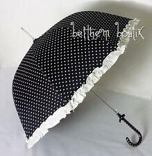 Goth : Parapluie Cloche & Canne NOIR Coeur Blanc Noeud Manga Lolita Gothique